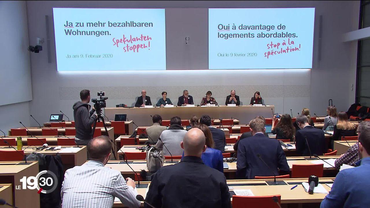 """Les partisans de l'initiative """"Pour des logements abordables"""" lancent leur campagne. [RTS]"""