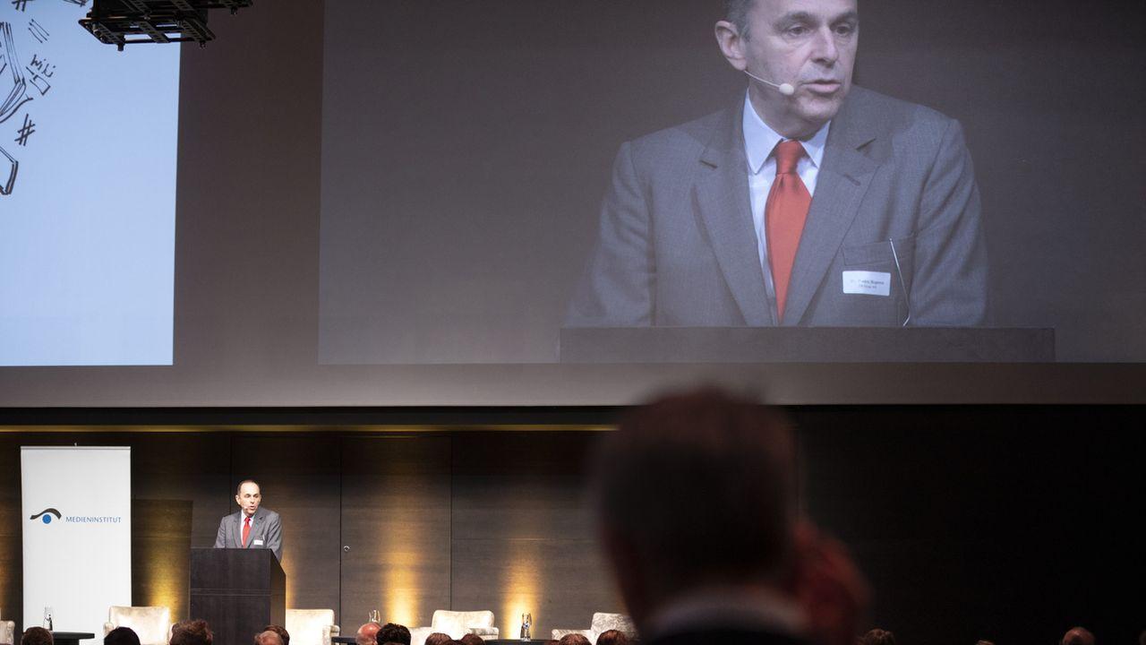 Le président des éditeurs alémaniques Pietro Supino lors de la traditionnelle réunion de l'Epiphanie de Schweizer Medien, Zürich, le 8 janvier 2020. [Gaëtan Bally - Keystone]