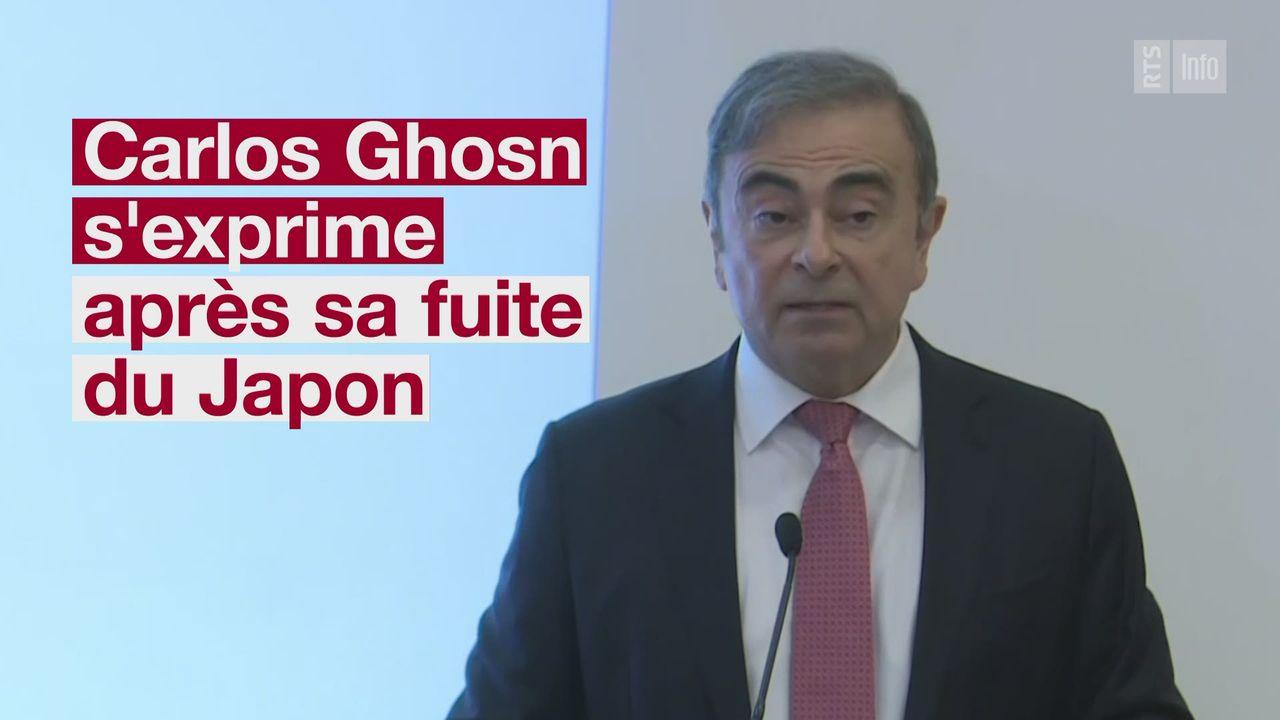 Carlos Ghosn s'exprime après sa fuite du Japon [RTS]