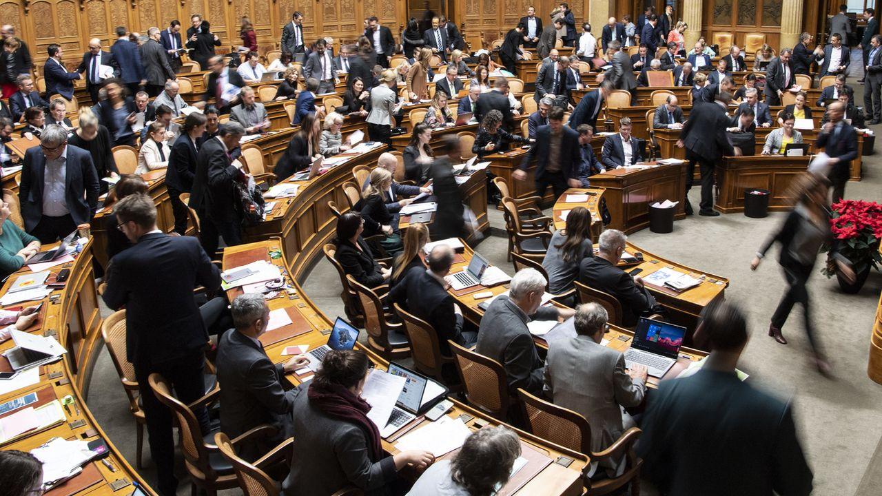 La salle du Conseil national, en décembre 2019, lors de la première session de la nouvelle législature. [Peter Schneider - Keystone]