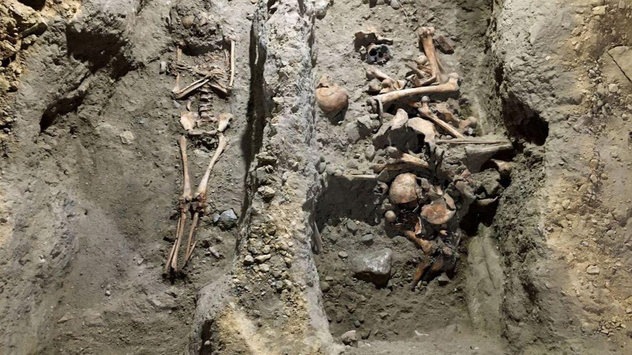 Les squelettes découverts sous la Collégiale de Neuchâtel. [Ville de Neuchâtel - RTS]