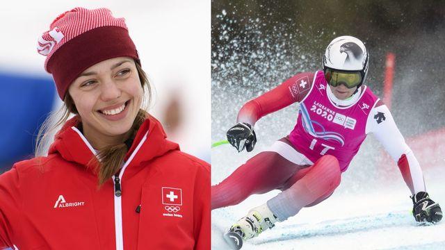 Klopfenstein et Roduit se sont montrés à l'aise sur la neige des Diablerets. [Jean-Christophe Bott - Keystone]