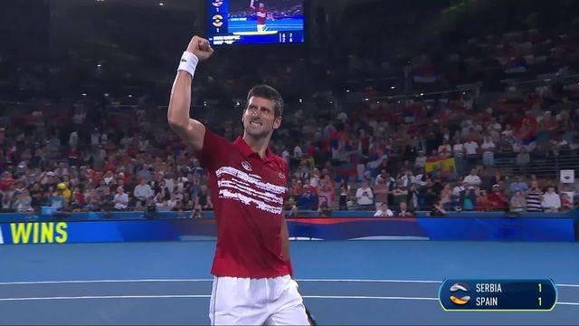 Finale Serbie - Espagne 1-1, N. Djokovic (SRB) - R. Nadal (ESP) 6-2 7-6: le numéro un mondial égalise pour son pays [RTS]