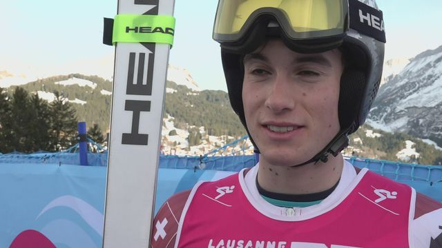Luc Roduit à l'interview après sa médaille en géant [RTS]