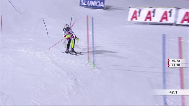 Flachau (AUT), slalom dames, 1e manche: Aline Danioth (SUI) [RTS]