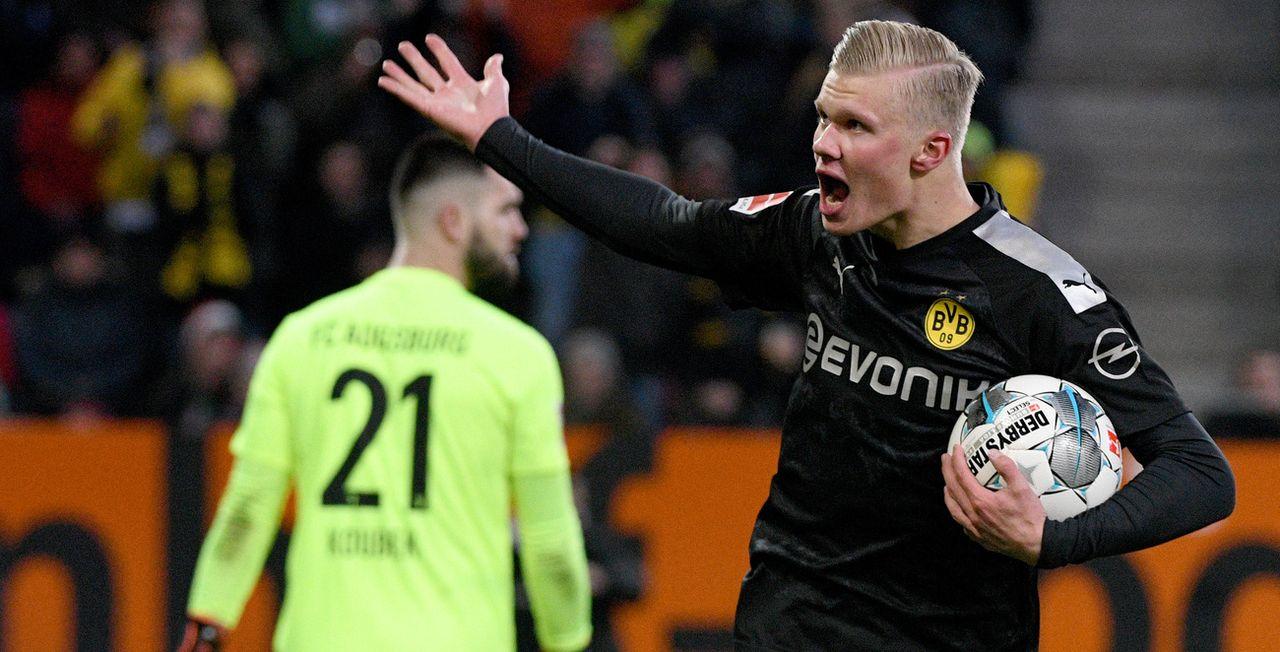 """Erling Haaland: sorti du banc, il a """"planté"""" trois buts plus que bienvenus pour le Dortmund de Lucien Favre. [Stefan Puchner - EPA]"""