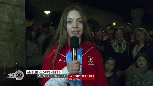 JOJ 2020: Retour triomphal à la Neuveville pour la skieuse Amélie Klopfenstein et ses 3 médailles. [RTS]