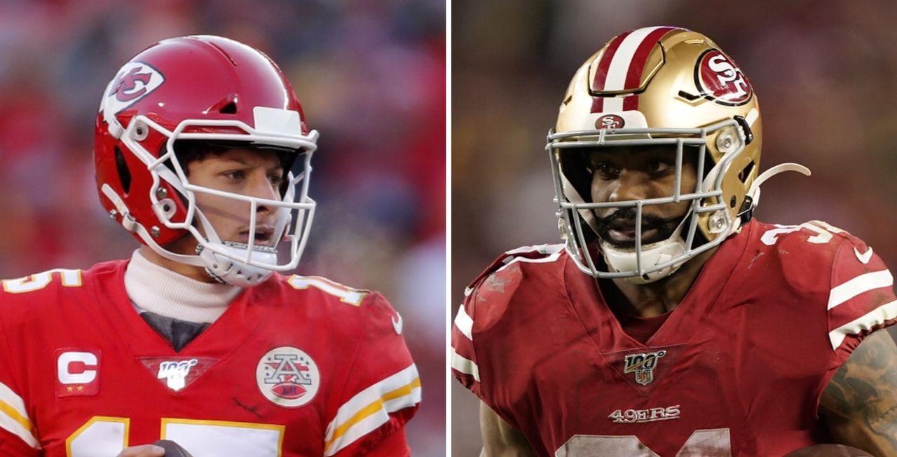 Patrick Mahomes (Chiefs) et Raheem Mostert (49ers) se feront face dans deux semaines. [J.Roberson/T.Avelar - Keystone]