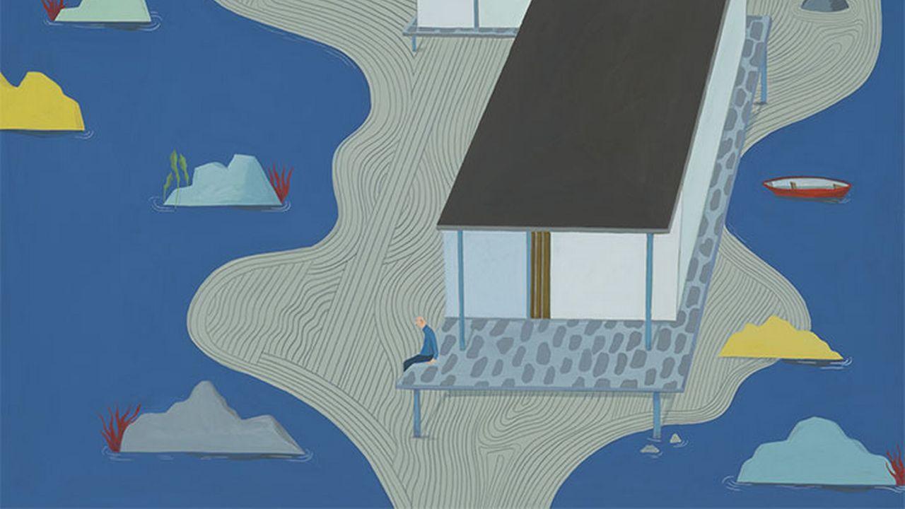 """Albertine, """"Home"""", gouache sur papier, 36 x 51 cm, 2019. Albertine, """"Home"""", gouache sur papier de 2019 à découvrir à la galerie LIGNEtreize à Carouge. [galerielignetreize.ch]"""