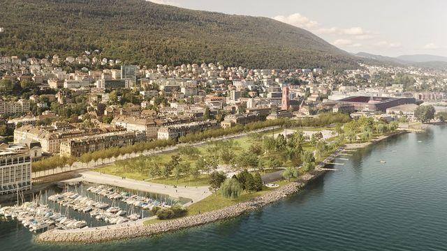 Le nouveau parc des Jeunes-Rives sera le trait d'union vert et bleu entre la vieille ville et l'université. [www.neuchatelville.ch ]