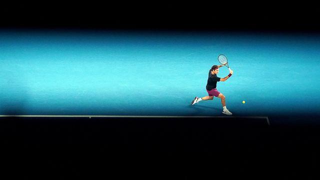 Roger Federer, l'artiste, en grande production à l'Open d'Australie. [Michael Dodge - AP]