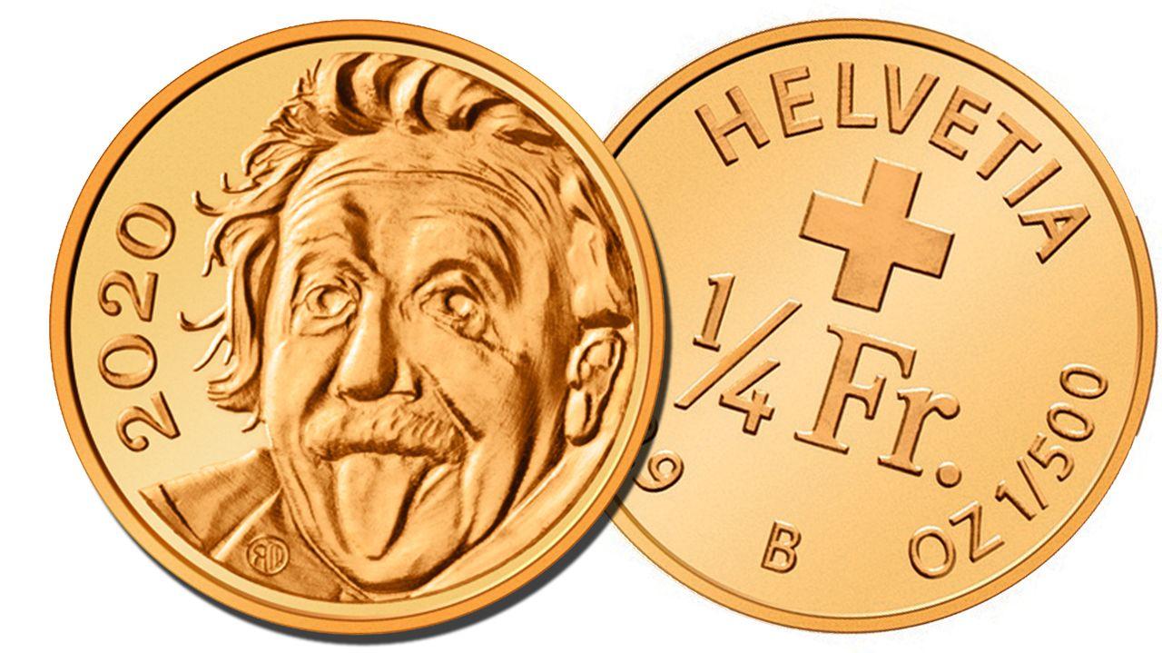 La cara de la nueva moneda muestra el famoso retrato de Albert Einstein sacando la lengua. [Benjamin Zurbriggen  - Swissmint ]