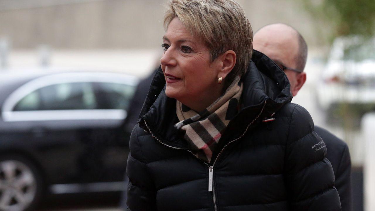 Karin Keller-Sutter durant son déplacement en Croatie. [EPA/Daniel Kasap - Keystone]