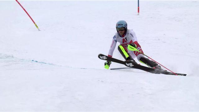 Kitzbühel (AUT), slalom messieurs, 2e manche: Reto Schmidiger (SUI) [RTS]