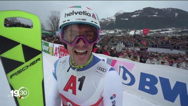 Daniel Yule, premier Suisse à remporter le slalom de Kitzbühel depuis 1968. [RTS]