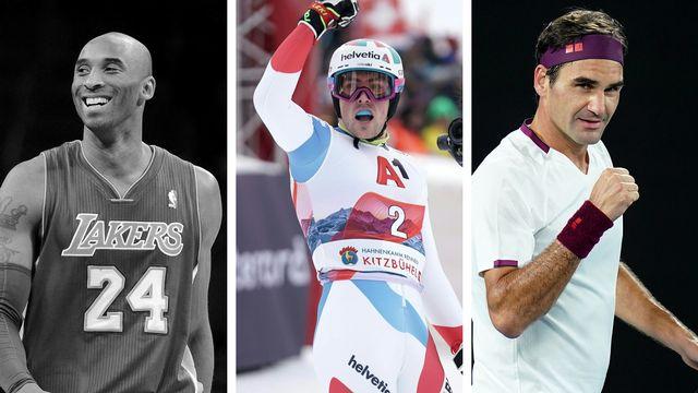 Kobe Bryant, Daniel Yule et Roger Federer. [A.Gombert/G.Hochmuth/D.Hunt - Keystone]