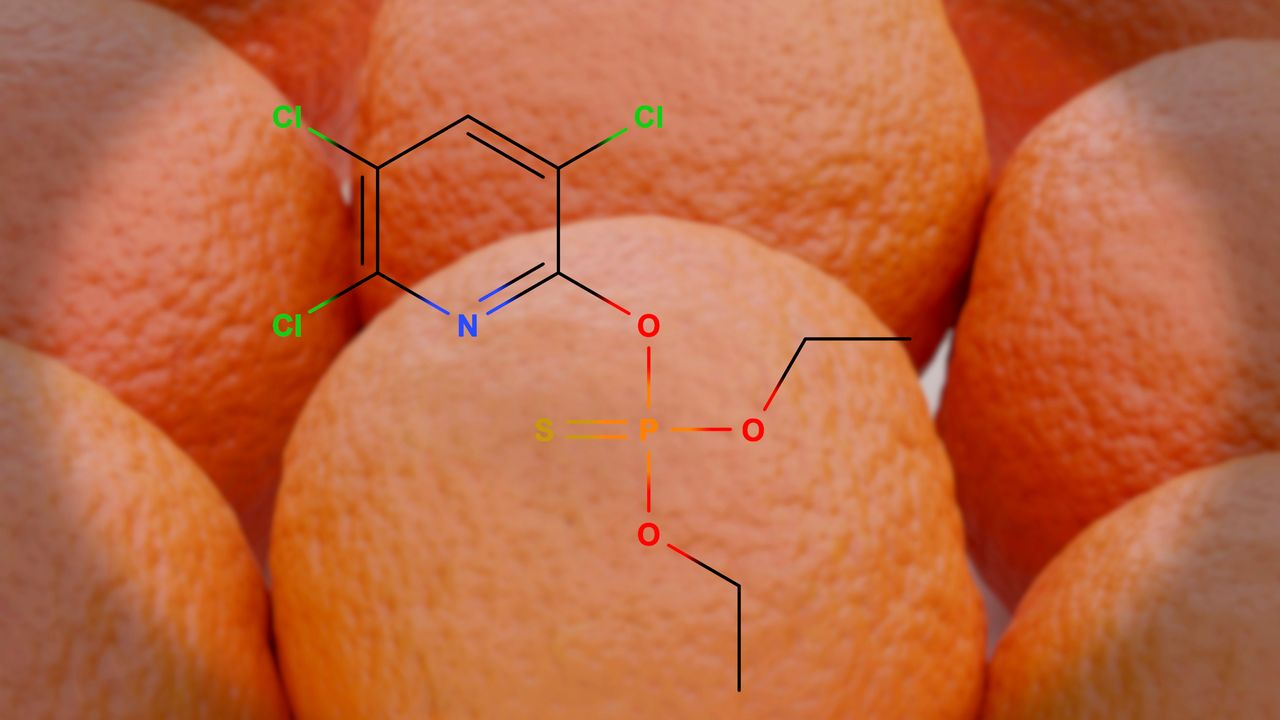 La structure moléculaire de l'insecticide chlorpyrifos. [Juan Gaertner - Science Photo Library / JGT]