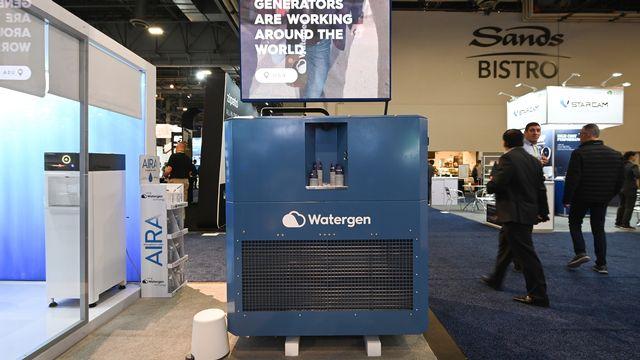 Watergen, le générateur d'eau au salon de l'innovation technologique de Las Vegas. [Robyn Beck - AFP]