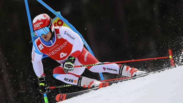 Loïc Meillard, auteur d'une superbe 1re manche sur la neige bavaroise. [Marco Trovati - AP]