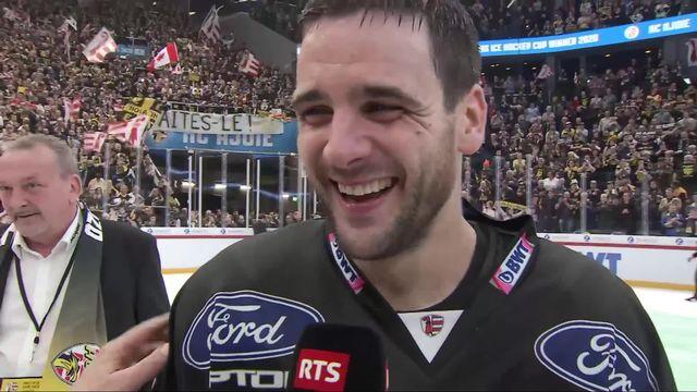 Finale, HC Ajoie - HC Davos (7-3): la joie du capitaine Jordane Hauert à l'interview [RTS]