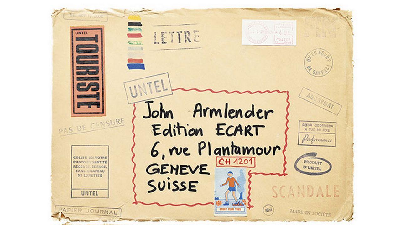 Une enveloppe contenant un choix d'empreintes de tampons d'artistes confectionnés par le collectif parisien Untel et destiné au groupe Ecart. [Editions Art&Fiction]