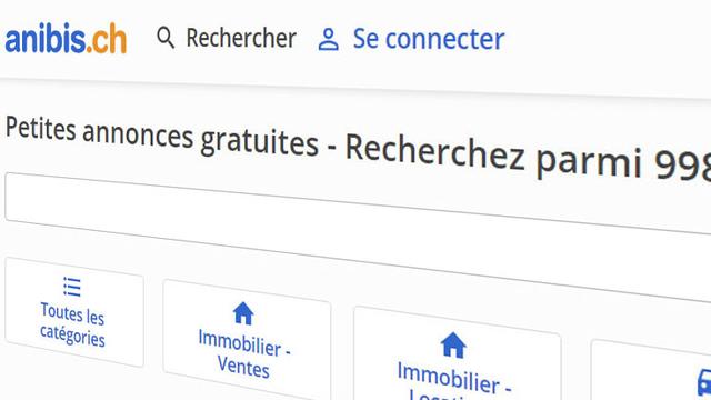 Page d'accueil du site Anibis.ch. [anibis.ch]