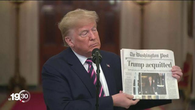 Blanchi par le Sénat américain, Donald Trump a été jugé non coupable d'abus de pouvoir dans l'affaire ukrainienne. [RTS]