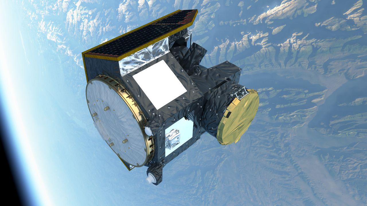 Illustration du satellite CHEOPS en orbite dans l'espace. [ATG medialab - ESA]