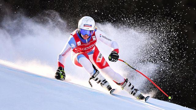 Corinne Suter avait détesté la piste de Rosa Khutor la semaine passée. Elle semble bien plus à l'aise sur la neige de Garmisch. [Philipp Guelland - Keystone]