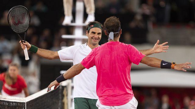 """Federer a remporté le sixième """"Match for Africa"""" contre Nadal au Cap. [Nic Bothma - Keystone]"""