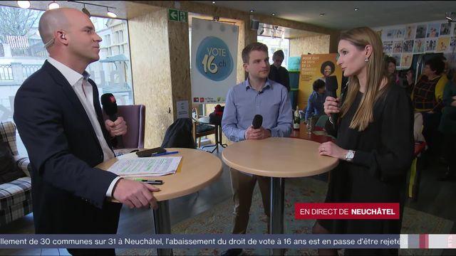 Neuchâtel: réactions sur le vote sur le droit de vote à 16 ans avec Baptiste Hunkeler et de Béatrice Haeny [RTS]