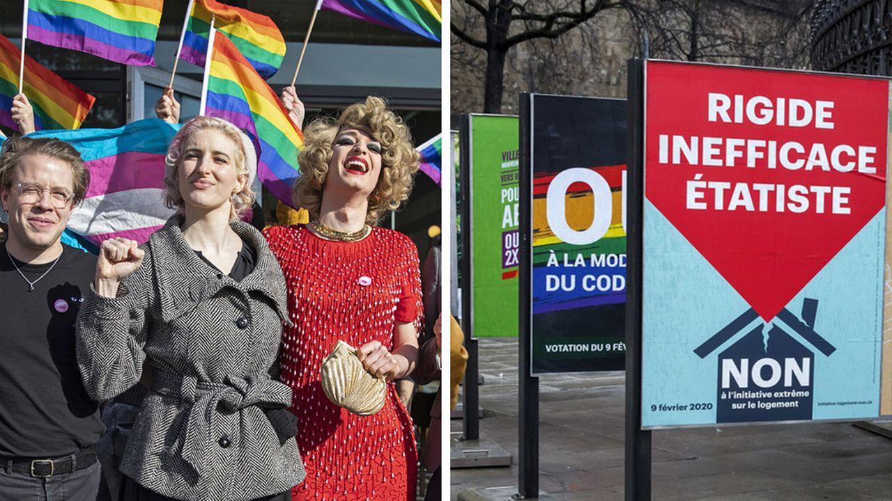 """La norme anti-homophobie passe le cap alors que l'initiative """"logements abordables"""" fait chou blanc. [Keystone]"""