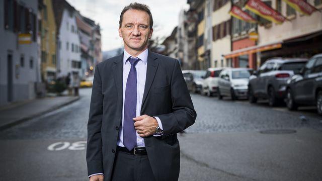 Romain Schaer, candidat UDC à l'élection complémentaire au Conseil d'Etat jurassien, le 18 décembre 2019 à Delémont. [Jean-Christophe Bott - Keystone]