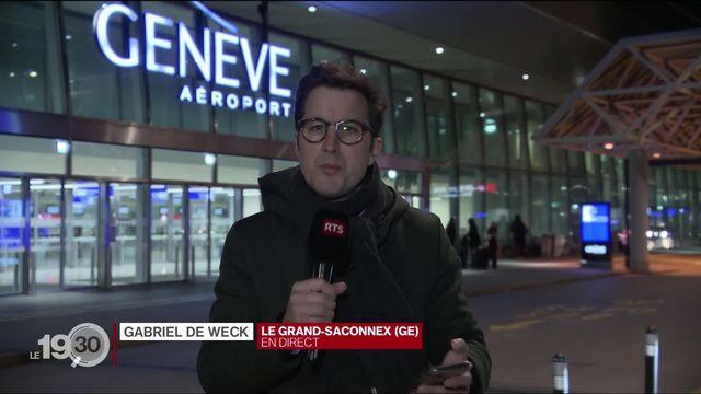 """Gabriel de Weck: """"Une soixantaine vols ont été annulés au départ ou à destination de Genève"""". [RTS]"""