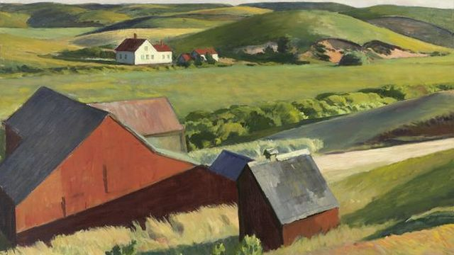 """Cobbs Barns"" (1930-33) d'Edward Hopper. [2019. Digital image Whitney Museum of American Art / Licensed - © Heirs of Josephine Hopper / 2019, ProLitteris, Zurich]"