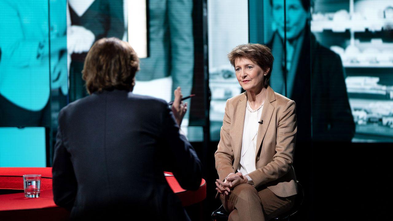 Simonetta Sommaruga à l'interview dans l'émission Infrarouge, le mercredi 12 février 2020. [Philippe Christin - RTS]
