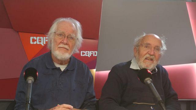 Jacques Dubochet, prix Nobel de chimie 2017, et Michel Mayor, prix Nobel de physique 2019. [Adrien Zerbini - RTS]