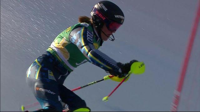 Kranjska Gora (SLO), slalom dames, 1re manche: Anna Swenn Larsson (SWE) en tête [RTS]