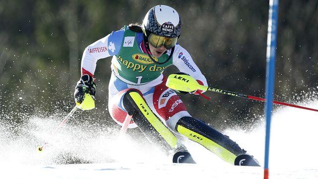 Wendy Holdener attend encore un 1er succès en slalom. [Antonio Bat - Keystone]