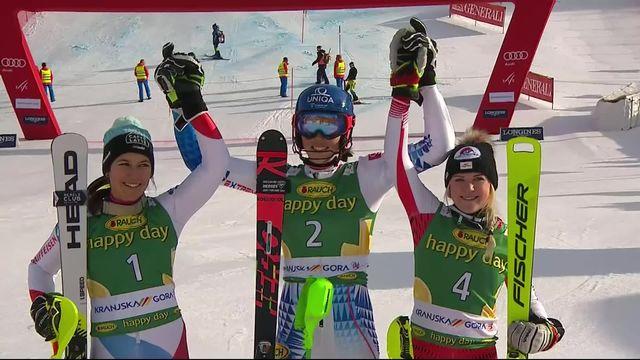 Kranjska Gora (SLO), slalom dames: Petra Vlhova (SVQ) s'impose devant Wendy Holdener [RTS]