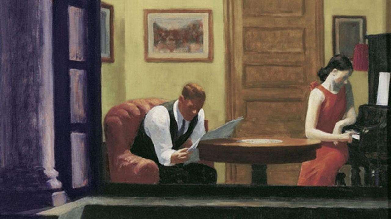 """""""Room in New York"""", d'Edward Hopper (1931). [Lincoln, University of Nebraska, Sheldon Memorial Art Gallery.]"""