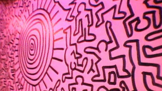 Oeuvre de Keith Haring réalisée au Montreux Jazz Festival de 1983 [RTS]