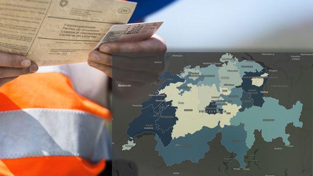 La carte des retraits de permis peu flatteuse pour les Romands [RTS]