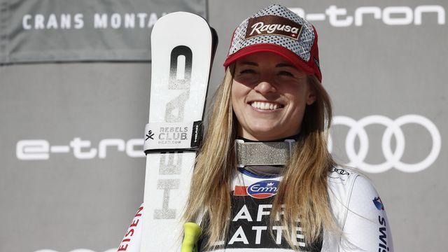 Lara Gut-Behrami peut avoir le sourire après avoir sa victoire en descente à Crans-Montana [Gabriele Facciotti - Keystone]