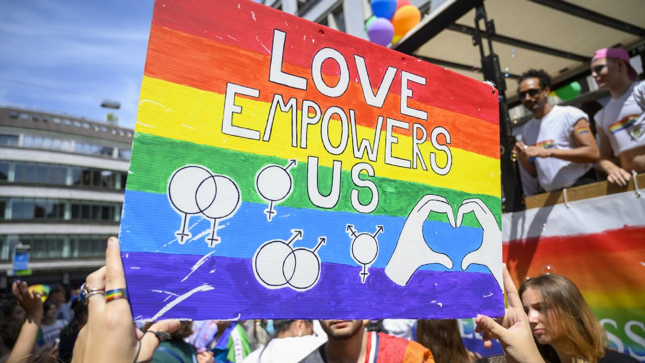 La Gay Pride à Zurich en juin 2019. [Melanie Duchene - KEYSTONE]