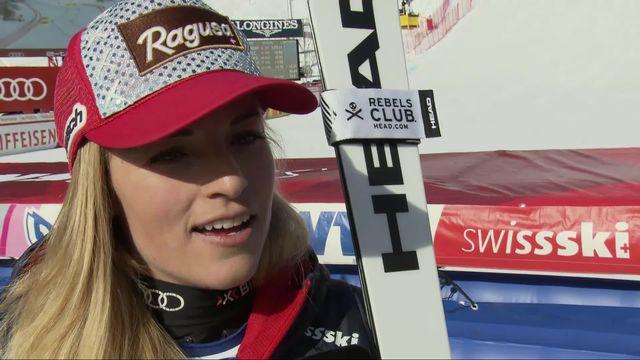 Crans-Montana (SUI), descente dames: la première réaction de Lara Gut-Behrami après sa première place [RTS]