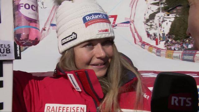 Crans-Montana (SUI), descente dames : interview de Corinne Suter (SUI) après sa victoire en Coupe du monde de descente [RTS]