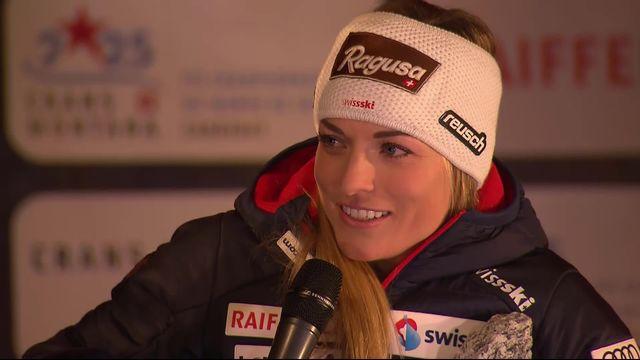 Crans-Montana (SUI), descente dames : Lara Gut-Behrami (SUI) à l'interview sur le podium [RTS]