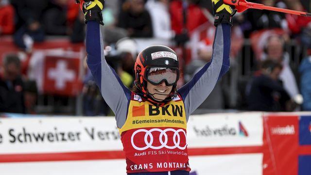 La joie de Federica Brignone, désormais en tête du classement général. [Alessandro Trovati - Keystone]