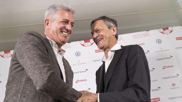 Vladimir Petkovic et le président de l'ASF Dominique Blanc sont sur la même longueur d'onde. [Alessandro Della Valle - Keystone]